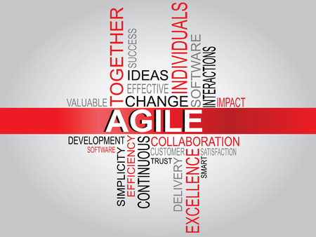 Agile software development word cloud typography vector illustration