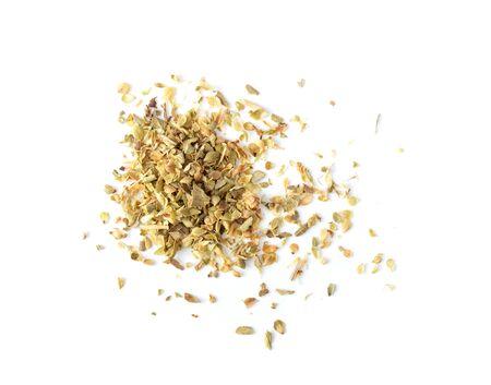 Oregano spice on white background. top view