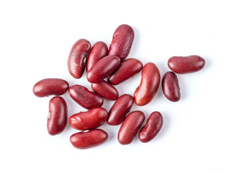 red beans isolated on white background. top view