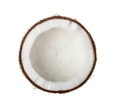 Kokosnuss-Hälfte isoliert auf weißem Hintergrund. Ansicht von oben.
