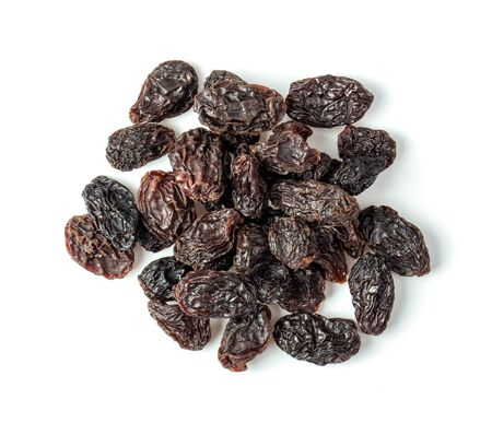 Raisins isolated on white background. top view