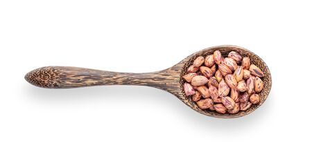 peanuts ,thai name is tiger-stripe beans in wood spoon isolated on white background. top view Stockfoto