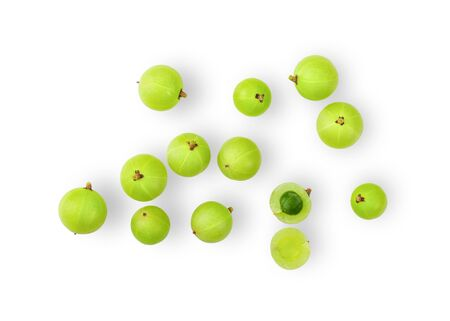 Indian gooseberry on white background. top view