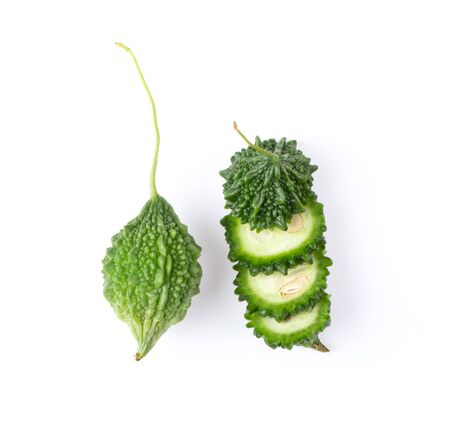 balsam apple, balsam pear, bitter cucumber, bitter gourd, bitter melon on white background. top view