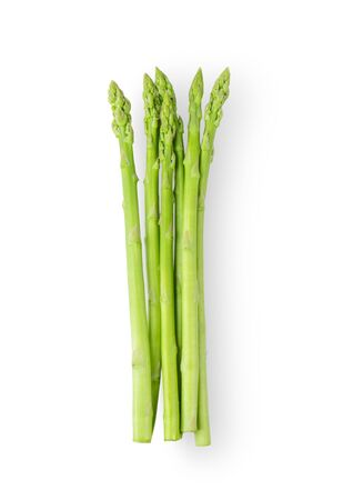 Asparagus isolated on white background. top view