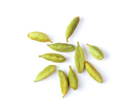 Top view of group of cardamom isolate on white background Stock fotó
