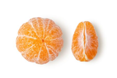 Orange mandarin or tangerine fruit isolated on white background. top view