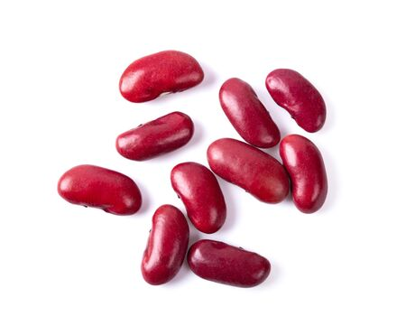 Top view of red beans isolated on the white background. top view