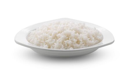 Cooked Jasmin Rice in white plate on white background Stok Fotoğraf