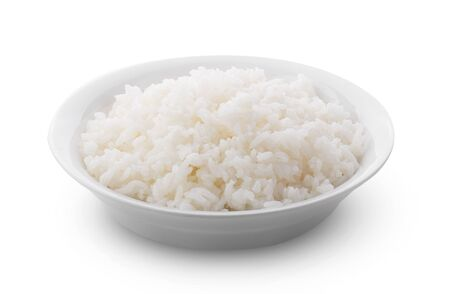 Cooked Jasmin Rice in white plate on white background