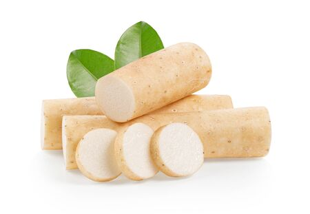 Chinese yam on white background. full depth of field 版權商用圖片