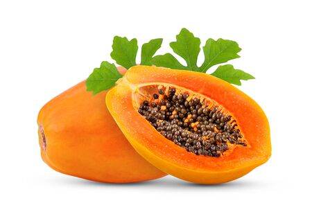 ripe papaya fruit leaf with seeds isolated on white background. full depth of field Archivio Fotografico