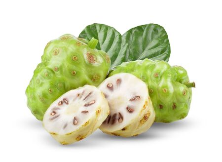 Noni fruit with leaf on white background. full depth of field