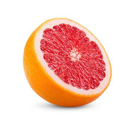 Ripe half of pink grapefruit citrus fruit isolated on white background. full depth of field Banco de Imagens