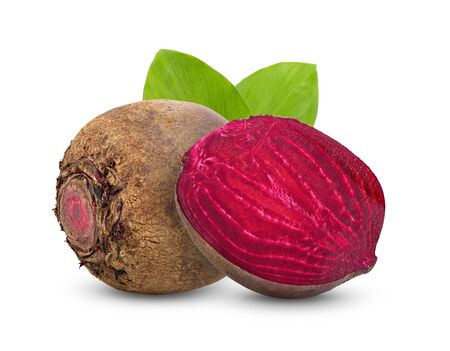 beetroot vegetables and a half with leaf isolated on white background. full depth of field