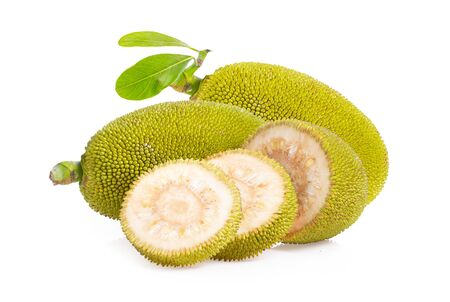 jack fruits with leaf on white background. full depth of field Stock Photo