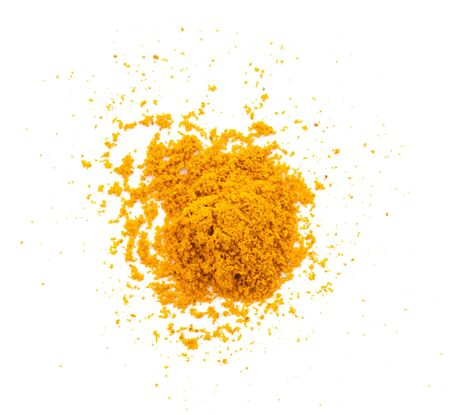 Dry turmeric powder(curcuma longa linn) isolated on white background. Top view