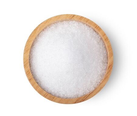 white sugar in wood bowl isolated on white background, top view