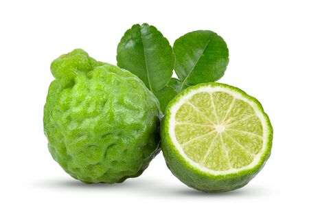 fresh bergamot fruit with leaf isolated on white background. full depth of field