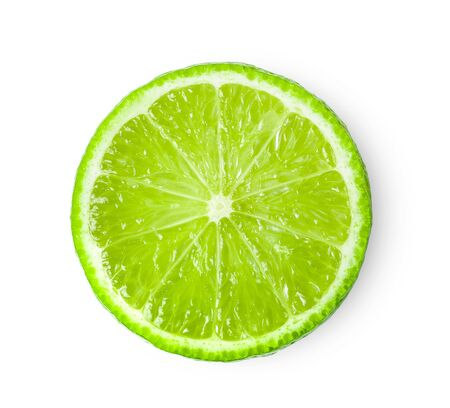 Juicy slice of lime isolated on white background. top view Imagens