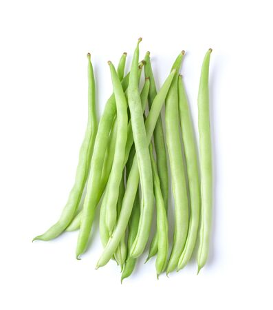 long beans isolated on white background. top view