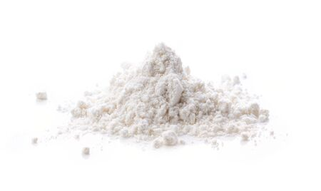 Pile of flour isolated on white background Banque d'images