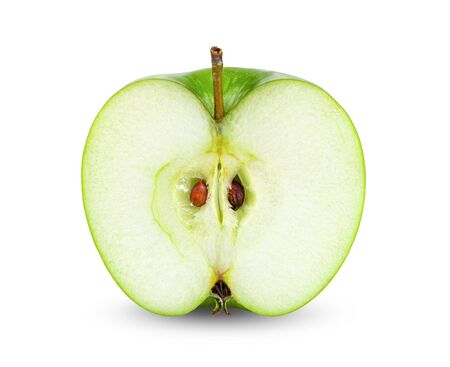 cut apple isolated on white background