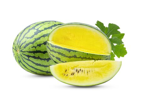 yellow watermelon with leaf isolated on white background.