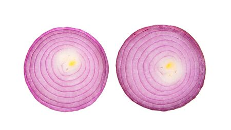 Sliced red onion rings on white background