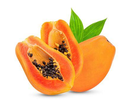 papaya with leaf isolated on white background