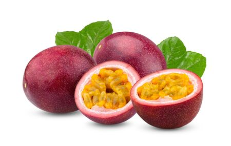 Passion fruit isolated on the white background. full depth of field 写真素材