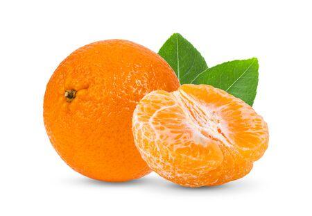 orange mandarin with leaf isolated on white background.full depth of field