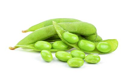 Green soy beans on white background top view. Stockfoto