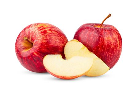 manzana roja aislada sobre fondo blanco Foto de archivo