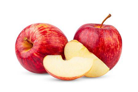 rode appel geïsoleerd op witte achtergrond Stockfoto