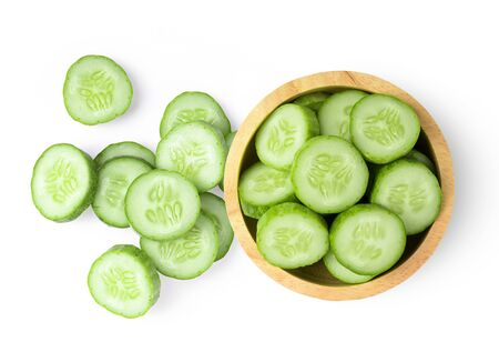 Fresh cucumber slices isolated on white background. top view