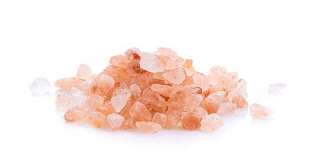 Himalayan salt raw crystals Isolated on White Background