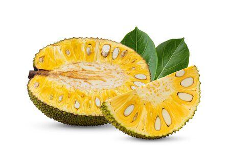 ripe Jackfruit with leaf isolated on white background