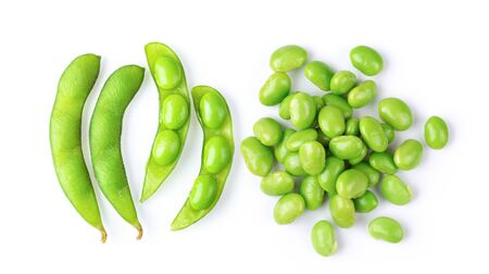 green soybeans seeds isolated on white background. top view
