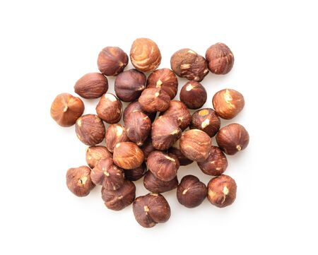 hazelnuts isolated on white background top view