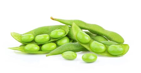 green soy beans isolated on white background. full depth of field