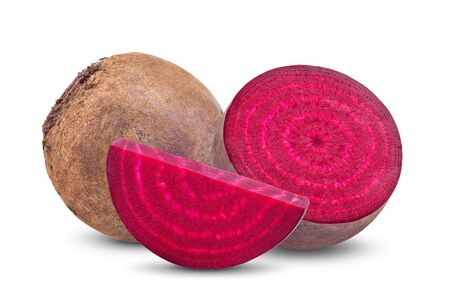 beetroot vegetables and a half isolated on white background. full depth of field Stockfoto