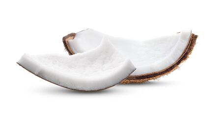Coconut pieces isolated on a white background full depth of field