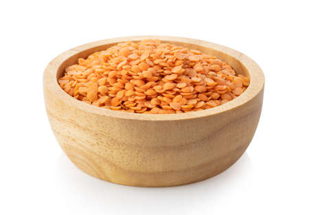 red lentils in wood bowl isolated on white background 스톡 콘텐츠 - 151036992