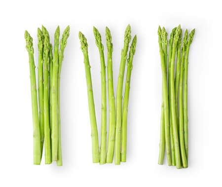 Asparagus isolated on white background. top view Stock Photo