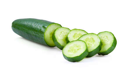 cucumber sliced isolated on white background . full depth of field