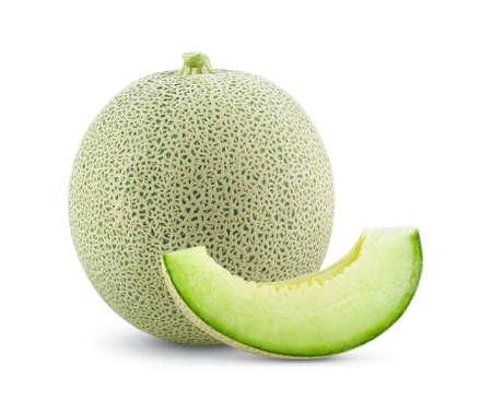 cantaloupe melon isolated on white background full depth of field Standard-Bild