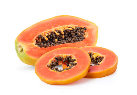 half of ripe papaya fruit with seeds isolated on white background. full depth of field