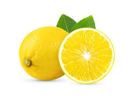 lemon with leaf isolated on white background 版權商用圖片