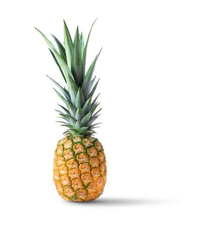 single whole pineapple isolated on white background